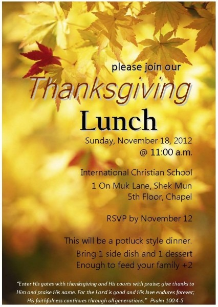 Join Us For Thanksgiving Dinner In Hong Kong