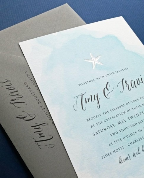New Amy Blue Watercolor Beach Wedding Invitation Sample With Gold