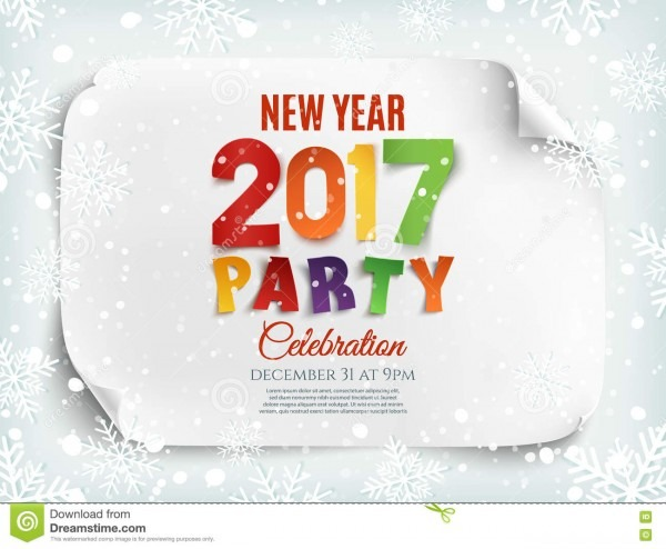 New Year 2017 Party Poster Template  Stock Vector
