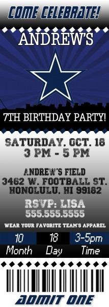Invitation Ideas  Free Printable Dallas Cowboys Birthday