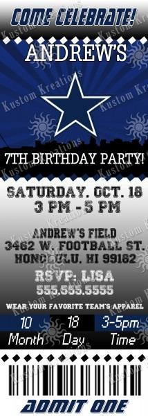 Nfl Dallas Cowboys Birthday Invitation