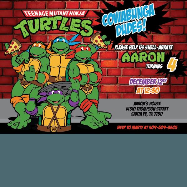 Ninja Turtle Birthday Invitations – Blackline