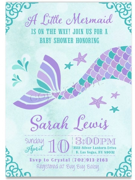 Printable Mermaid Invitation For Girl Baby Shower W Matching Items
