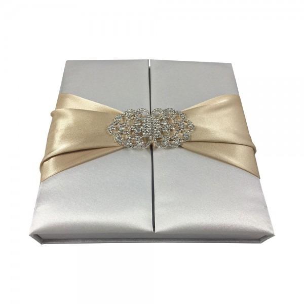 Premium Quality Satin Silk Box For Wedding Invitation Cards In Off