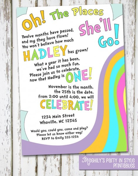 Oh The Places You Ll Go Birthday Invite Picturesque Printables