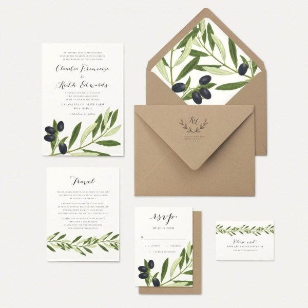 Olive Branch And Leaves Wedding Invitation Rustic Greek Tuscan
