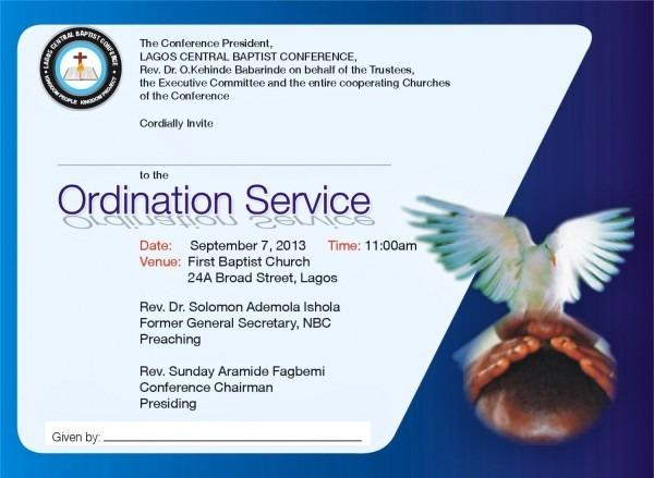 Sample Ordination Invitations