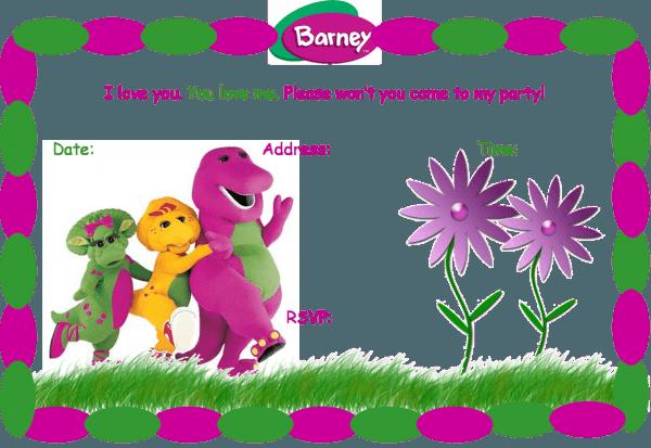 Ufriva Marvelous Free Personalized Barney Birthday Invitations