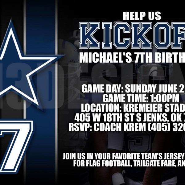 Dallas Cowboys Birthday Invitation