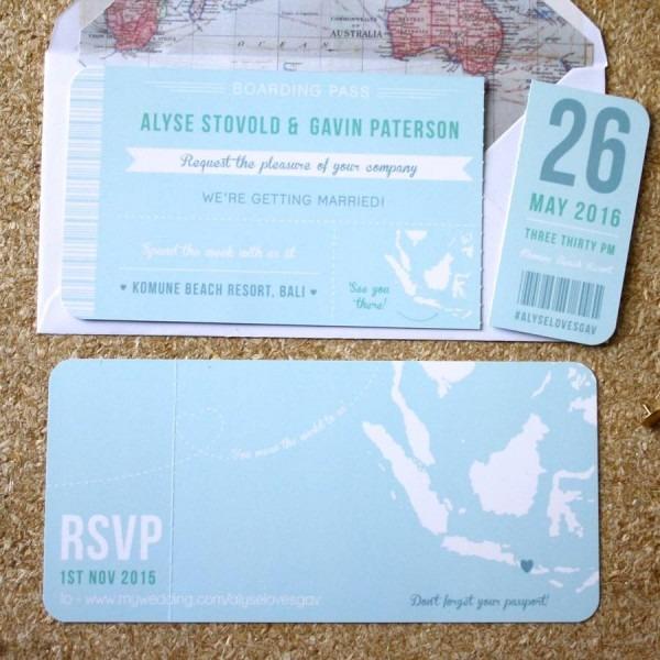 Wedding Ideas  Boarding Pass Wedding Invitations