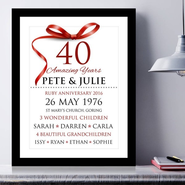 Personalised Ruby Wedding Anniversary Typography By Cherry Pete