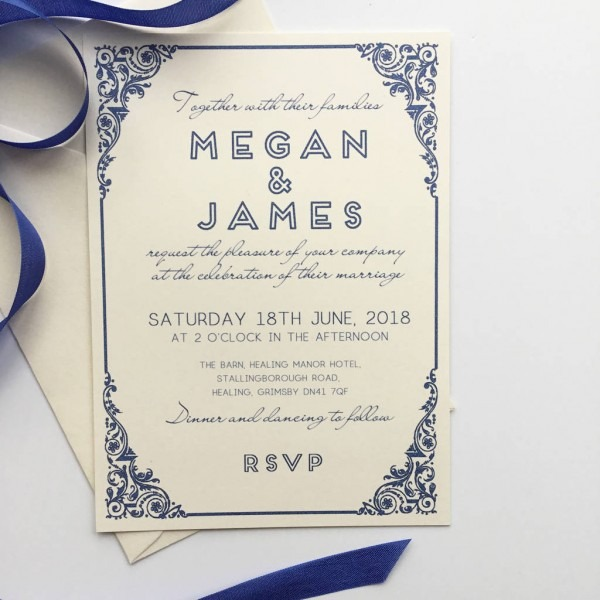 Traditional Wedding Invitation With Art Deco Border By Claryce