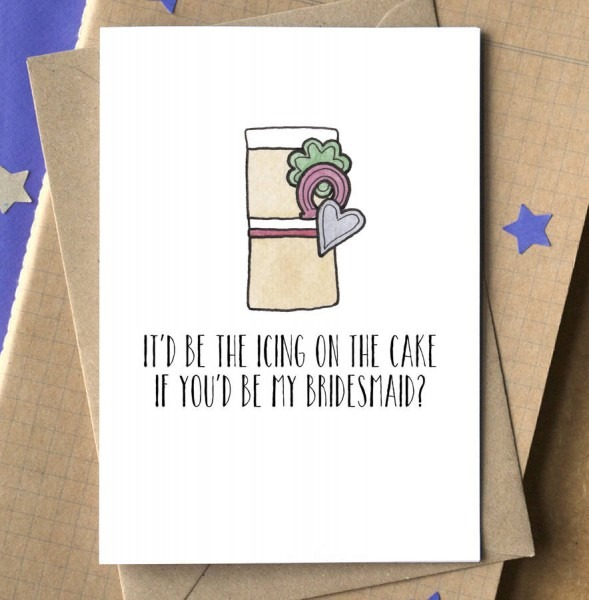 Funny Will You Be My Bridesmaid Card By Becka Griffin Illustration