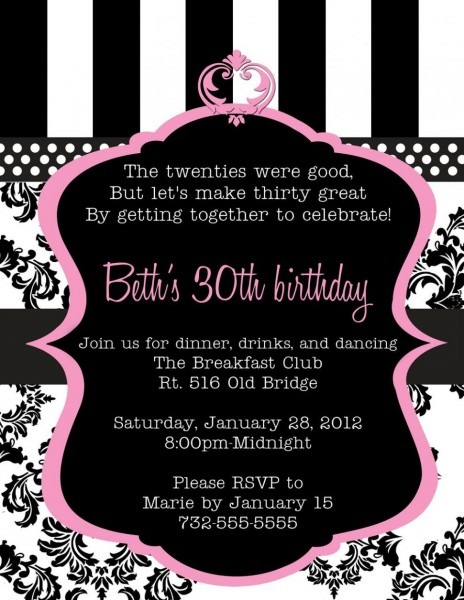 Invitation Ideas  30th Birthday Invitations For Her