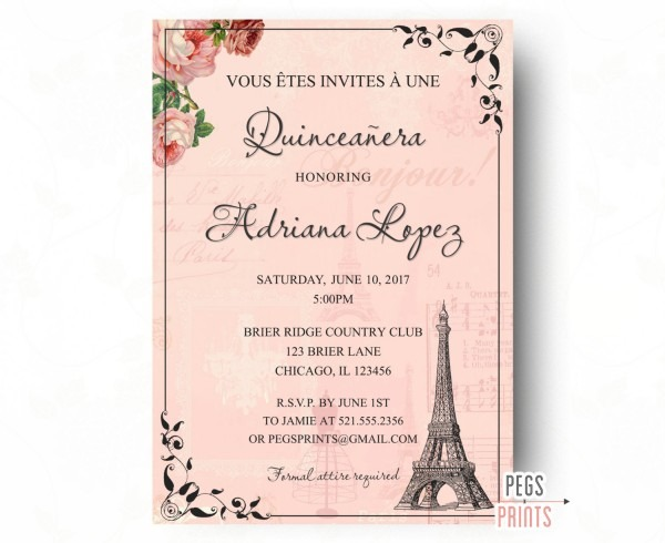 Paris Quinceanera Invitations Paris Quinceanera Invitations And