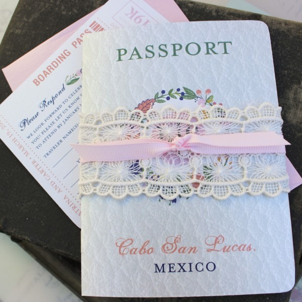 Floral Folk Art Passport Wedding Invitation (cabo San Lucas, Mexico)