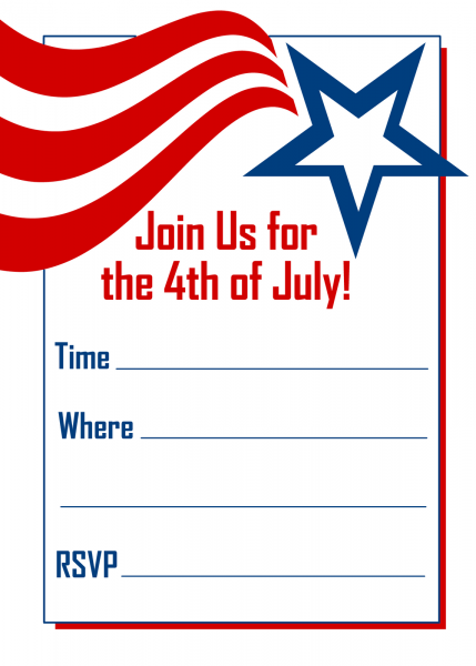 Free Printable Party Invitations  Red, White And Blue 4th Of July