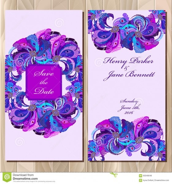 Peacock Feathers Wedding Invitation Card Printable Vector
