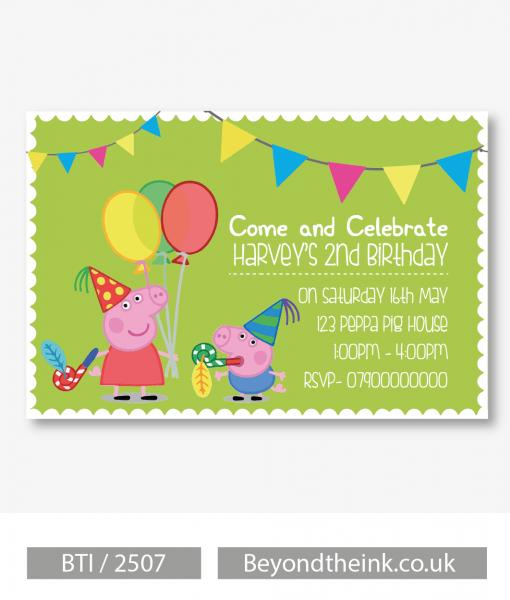 Peppa Web Good George Pig Party Invitations