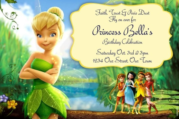 Perfect Personalized Tinkerbell Birthday Invitations