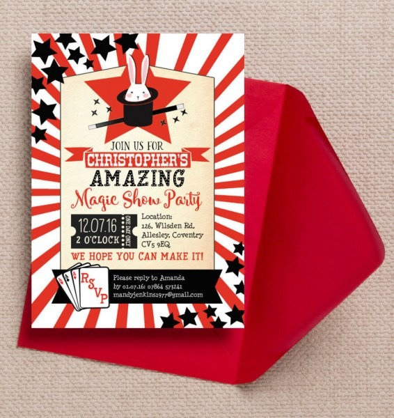 Magic Show Party Invitation From £0 80 Each