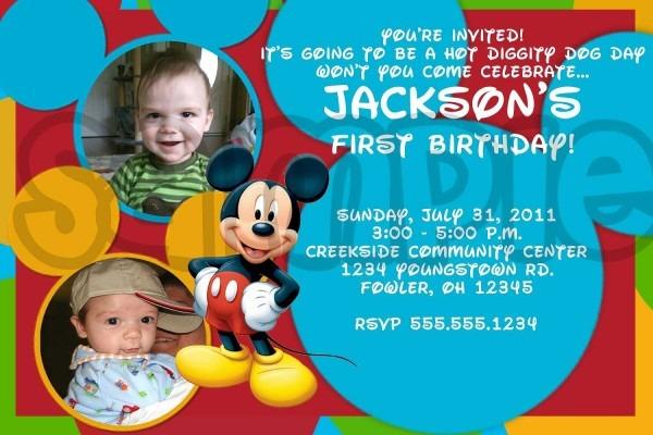 Photo Mickey Mouse Birthday Invitations