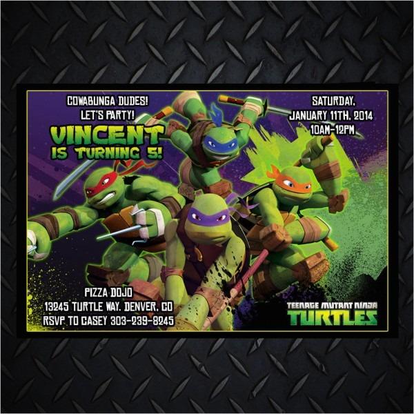Personalized Ninja Turtle Birthday Invitations Teenage Mutant