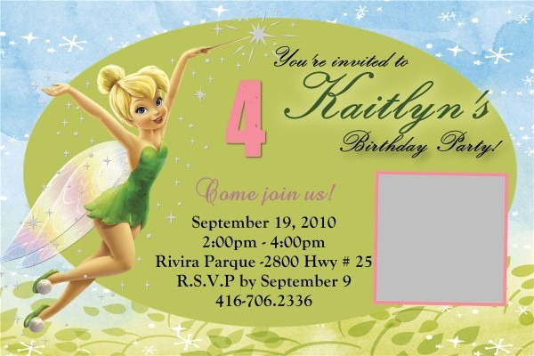 Personalized Tinkerbell Birthday Invitations Superb With