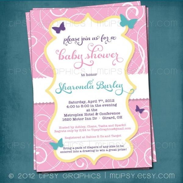 Photo Butterfly Baby Shower Invitation Image Pink Floral Shower
