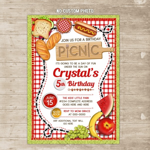 Picnic Invitation Outdoor Family Cookout Invite Park Backyard Bbq
