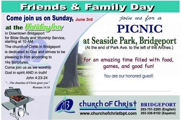 Sunday June 3rd Friends & Family Day Picnic