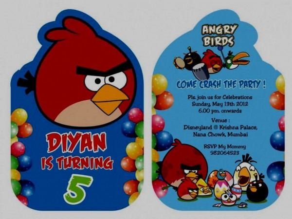 Great Angry Birds Birthday Party Invitation Template Free