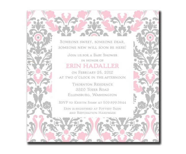 Pink And Gray Baby Shower Invitations Pink And Gray Baby Shower