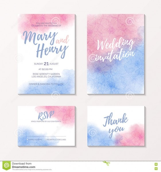 Pink And Blue Watercolour Bridal Template Stock Vector