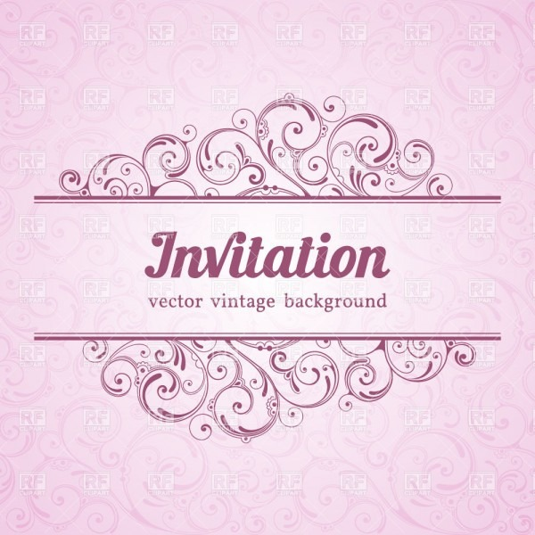Pink Vintage Invitation Template With Curly Borders