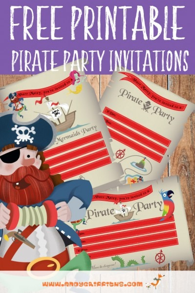 Printable  Pirate Birthday Party Invitations