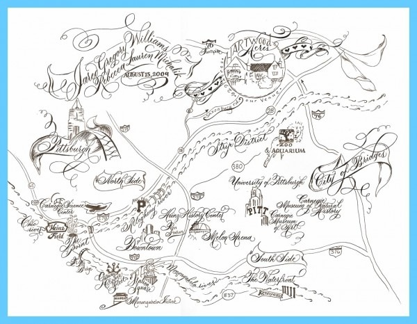 Hand Drawn Wedding Invitation Map