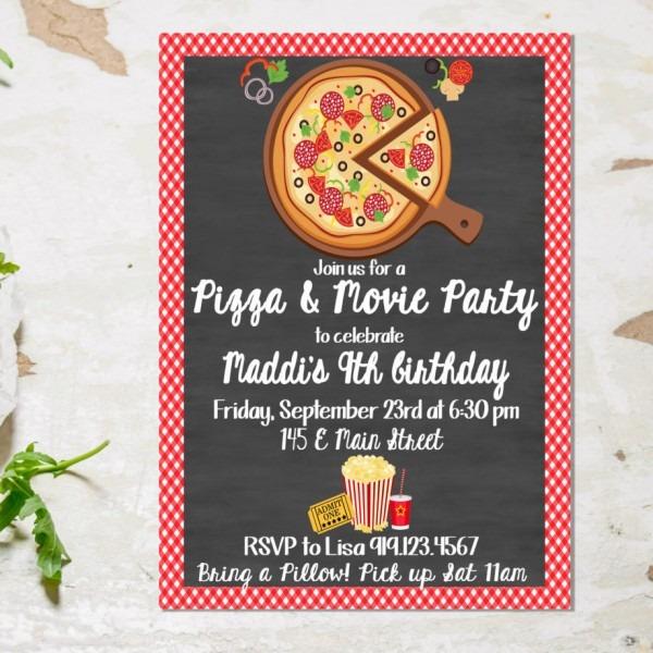 Pizza And Movie Party Invitation, Pizza Party, Pizza Movie Night