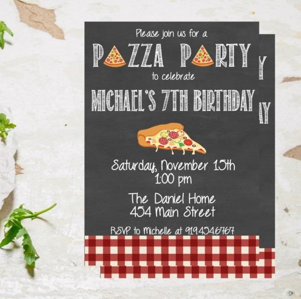 Pizza Party Invitation, Pizza Birthday Party Invite, Pizza