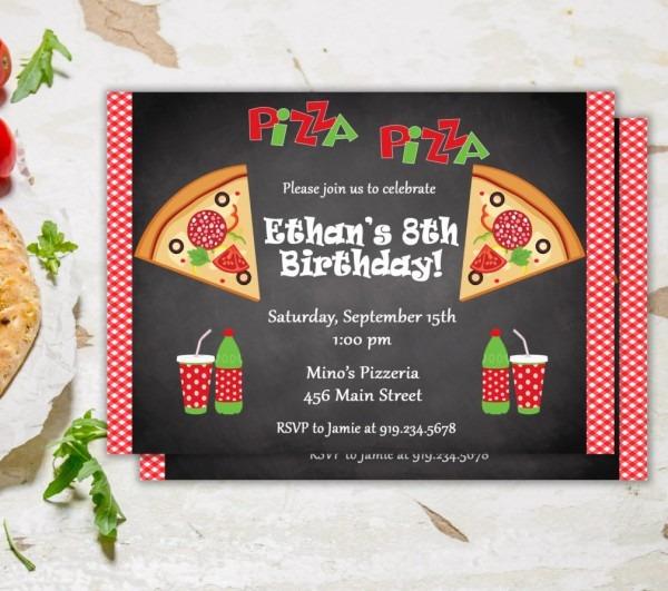 Pizza Party Invitation, Pizza Party Invite, Pizza Invitation