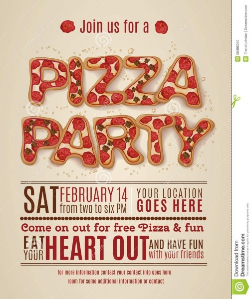 Pizza Party Invitation Template Stock Vector