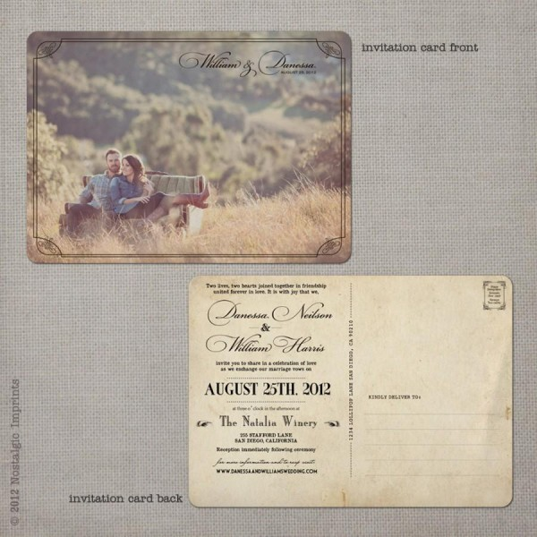 Postcard Wedding Invitations   Wedding Guest Invitations   Vintage