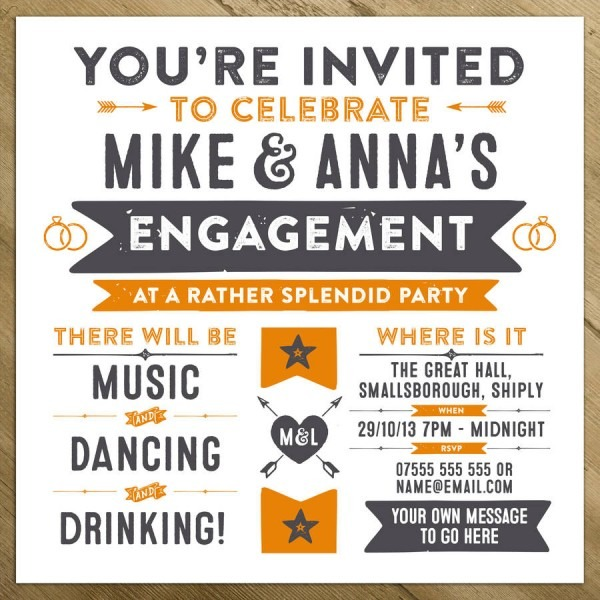 Poster Like Engagement Party Invitation In Retro Style