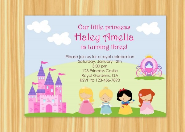 Princess Party Invitations Wording