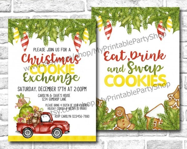 15 Christmas Cookie Exchange Party Invitations • Glitter 'n Spice