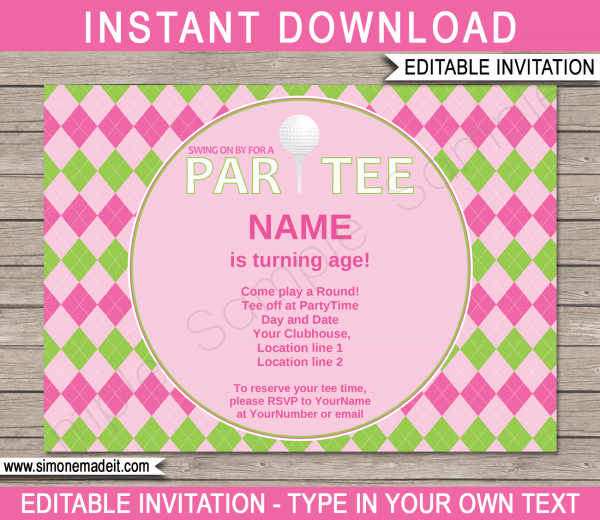 Golf Birthday Party Invitations Template