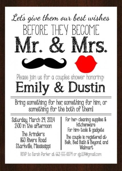 Printable Mr & Mrs  Couples Wedding Shower Invitation, Lips And