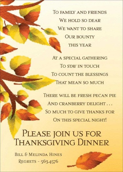 Printable Thanksgiving Invitations Wording – Festival Collections