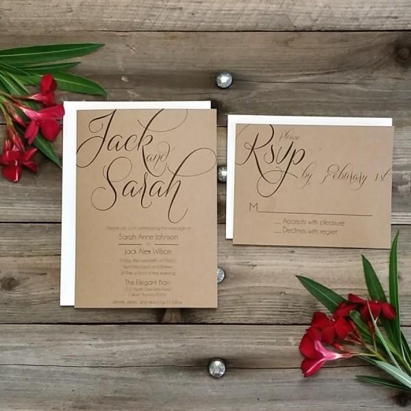 Printed Country Rustic Wedding Invitation Package, Printed Rsvp W