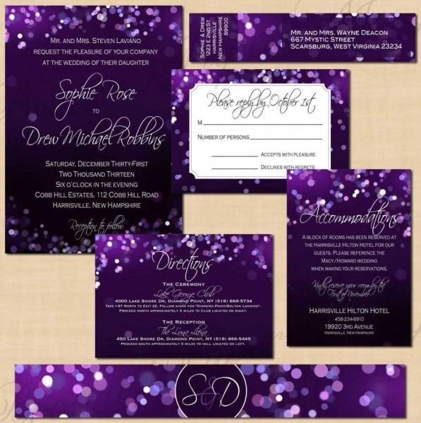 Purple Night Sky Invitation Suite  Rsvp, Inserts, Belly Band, Wrap